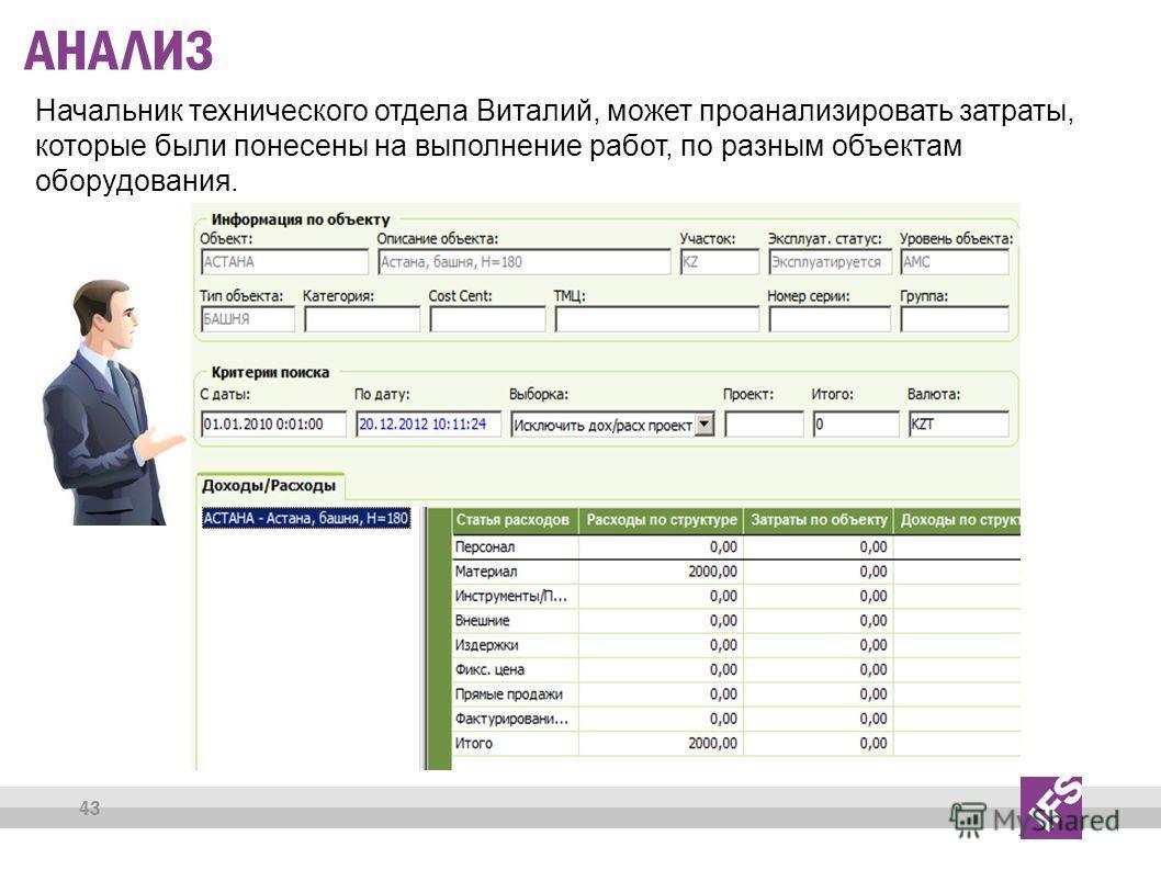 43 АНАЛИЗ Начальник технического отдела Виталий, может проанализировать затраты, которые были понесены на выполнение работ, по разным объектам оборудования.