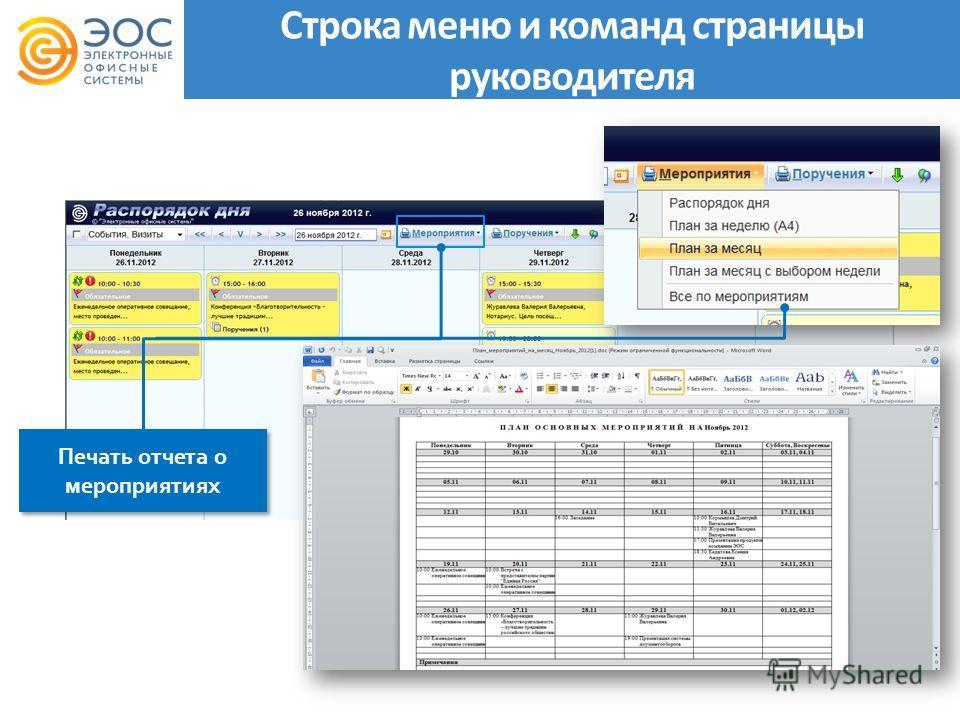 Печать отчета о мероприятиях Строка меню и команд страницы руководителя
