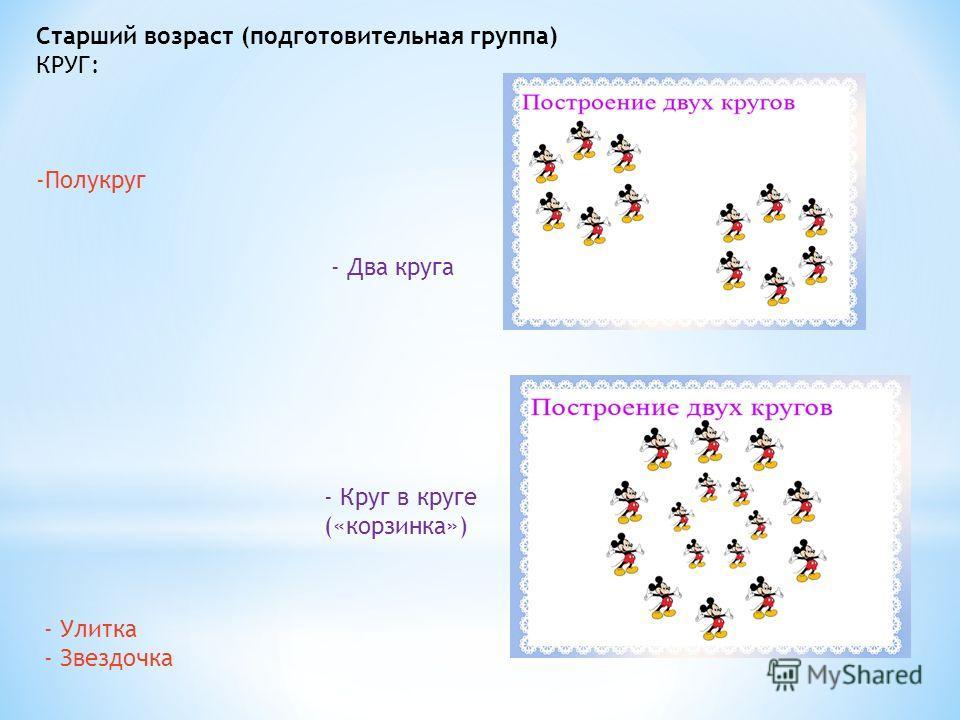 Старший возраст (подготовительная группа) КРУГ: -Полукруг - Два круга - Круг в круге («корзинка») - Улитка - Звездочка