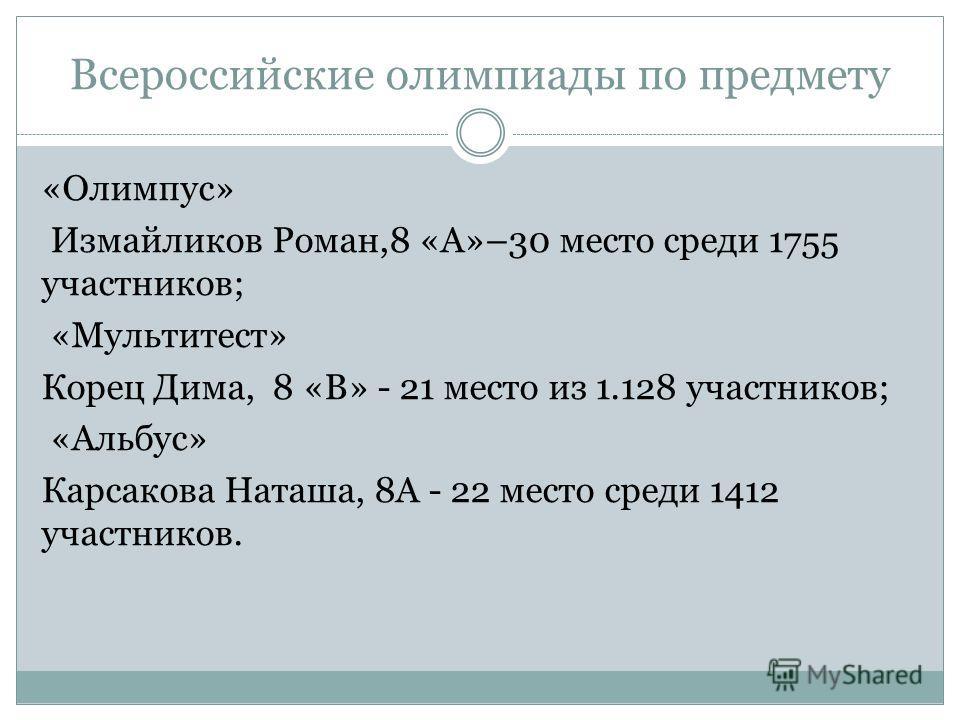 Всероссийские олимпиады по предмету «Олимпус» Измайликов Роман,8 «А»–30 место среди 1755 участников; «Мультитест» Корец Дима, 8 «В» - 21 место из 1.128 участников; «Альбус» Карсакова Наташа, 8А - 22 место среди 1412 участников.