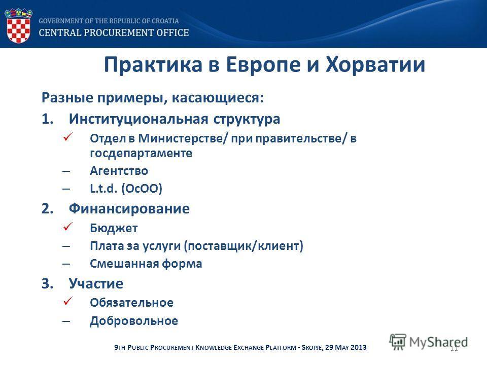Практика в Европе и Хорватии Разные примеры, касающиеся: 1. Институциональная структура Отдел в Министерстве/ при правительстве/ в госдепартаменте – Агентство – L.t.d. (ОсОО) 2. Финансирование Бюджет – Плата за услуги (поставщик/клиент) – Смешанная ф