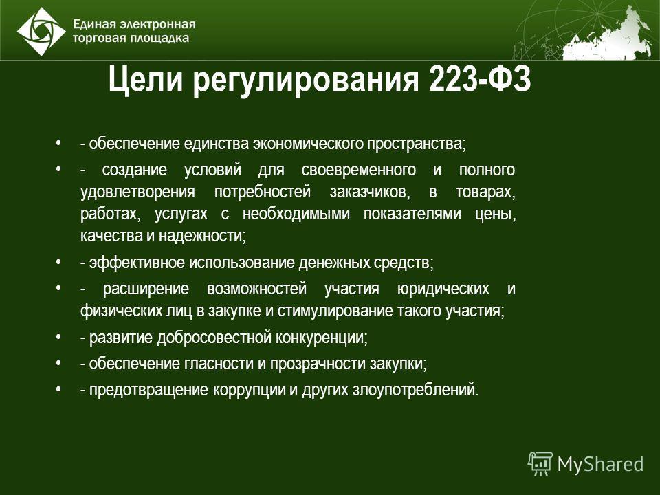 Цели регулирования 223-ФЗ - обеспечение единства экономического пространства; - создание условий для своевременного и полного удовлетворения потребностей заказчиков, в товарах, работах, услугах с необходимыми показателями цены, качества и надежности;