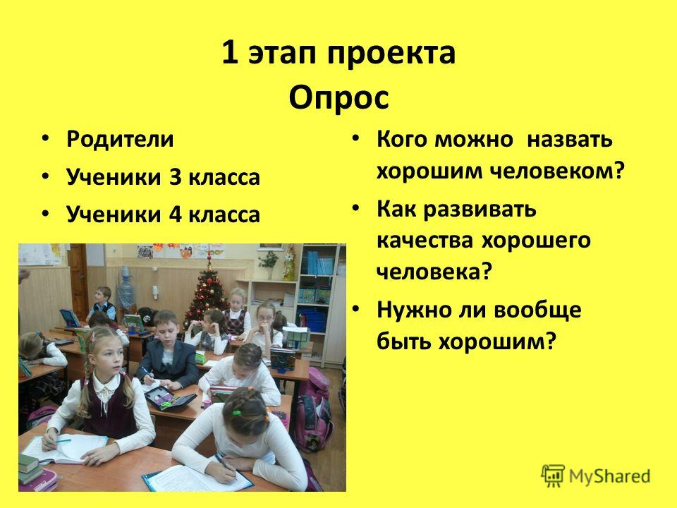 1 этап проекта Опрос Родители Ученики 3 класса Ученики 4 класса Кого можно назвать хорошим человеком? Как развивать качества хорошего человека? Нужно ли вообще быть хорошим?