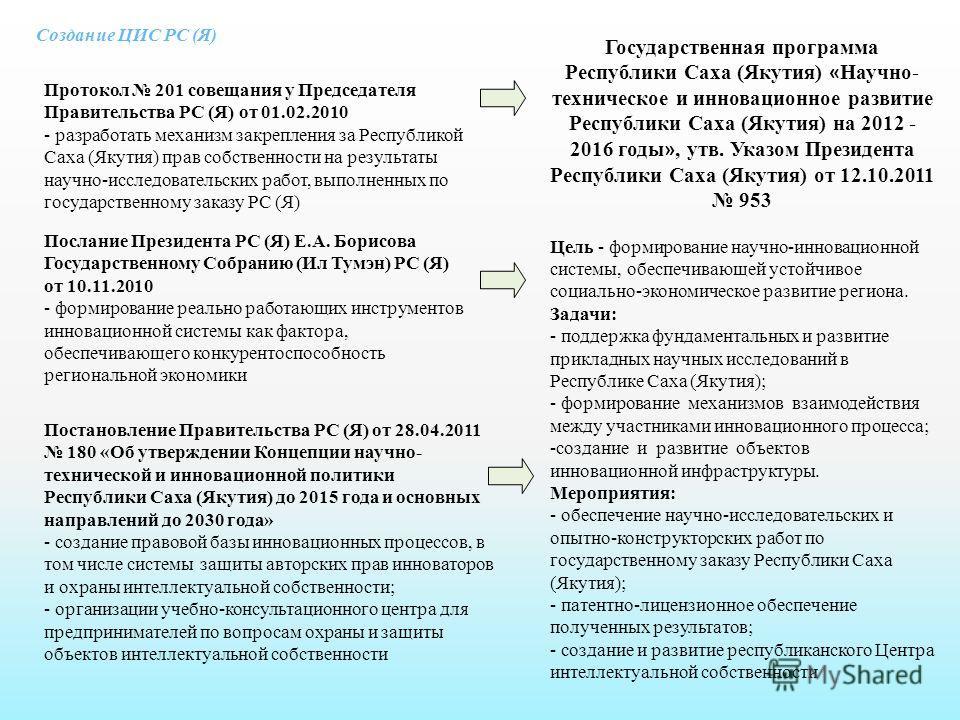 Создание ЦИС РС (Я) Протокол 201 совещания у Председателя Правительства РС (Я) от 01.02.2010 - разработать механизм закрепления за Республикой Саха (Якутия) прав собственности на результаты научно-исследовательских работ, выполненных по государственн