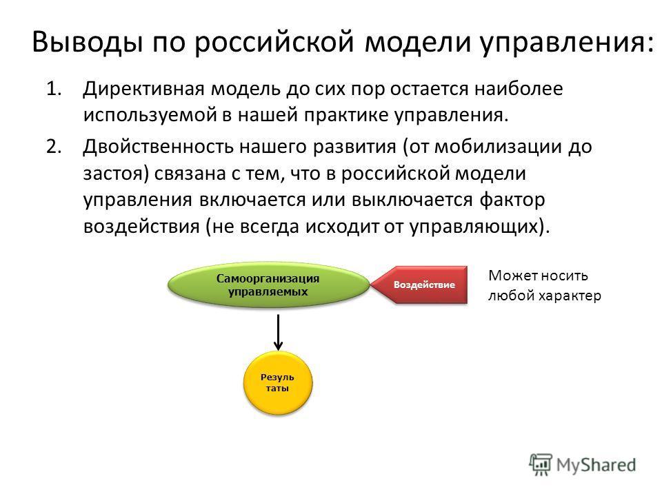 Выводы по российской модели управления: 1. Директивная модель до сих пор остается наиболее используемой в нашей практике управления. 2. Двойственность нашего развития (от мобилизации до застоя) связана с тем, что в российской модели управления включа