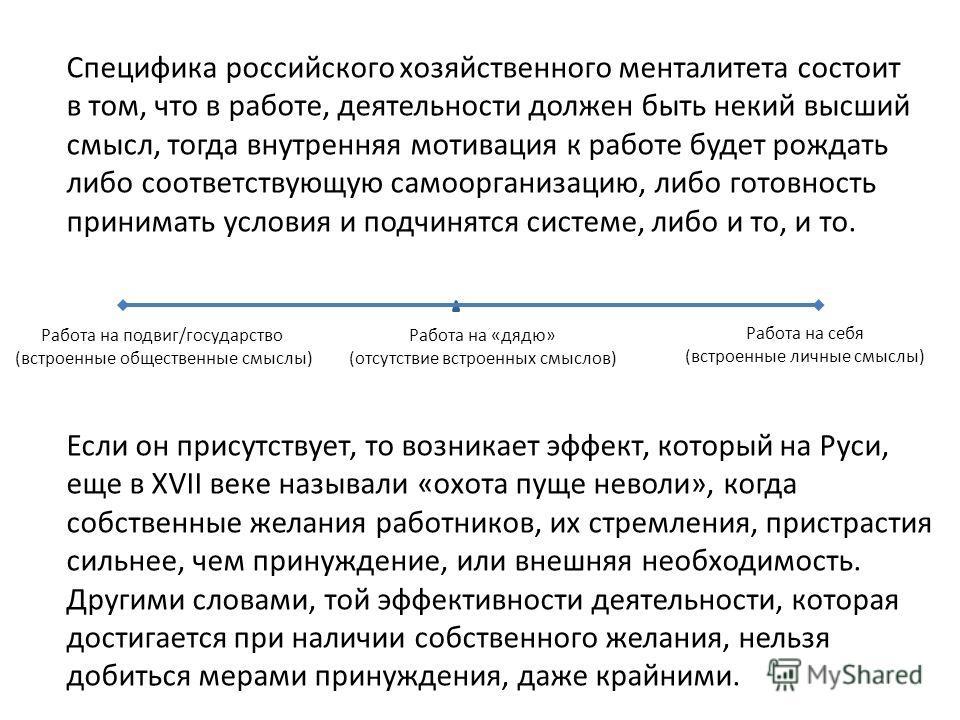Работа на себя (встроенные личные смыслы) Работа на подвиг/государство (встроенные общественные смыслы) Работа на «дядю» (отсутствие встроенных смыслов) Специфика российского хозяйственного менталитета состоит в том, что в работе, деятельности должен