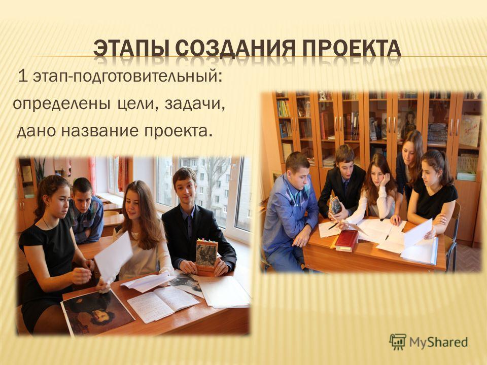 1 этап-подготовительный: определены цели, задачи, дано название проекта.
