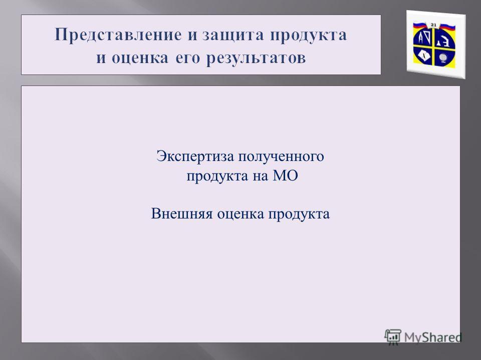 Экспертиза полученного продукта на МО Внешняя оценка продукта
