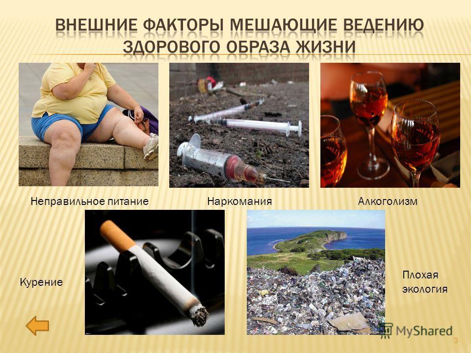 Неправильное питание НаркоманияАлкоголизм Курение Плохая экология 3