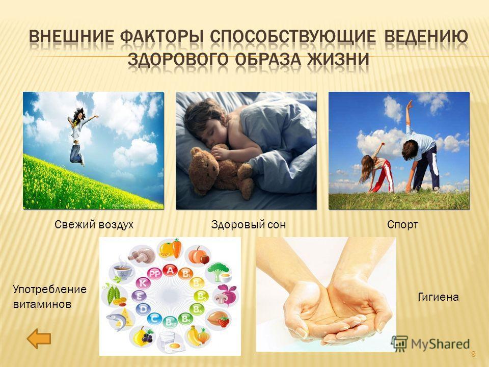 Свежий воздух Здоровый сон Спорт Употребление витаминов Гигиена 9