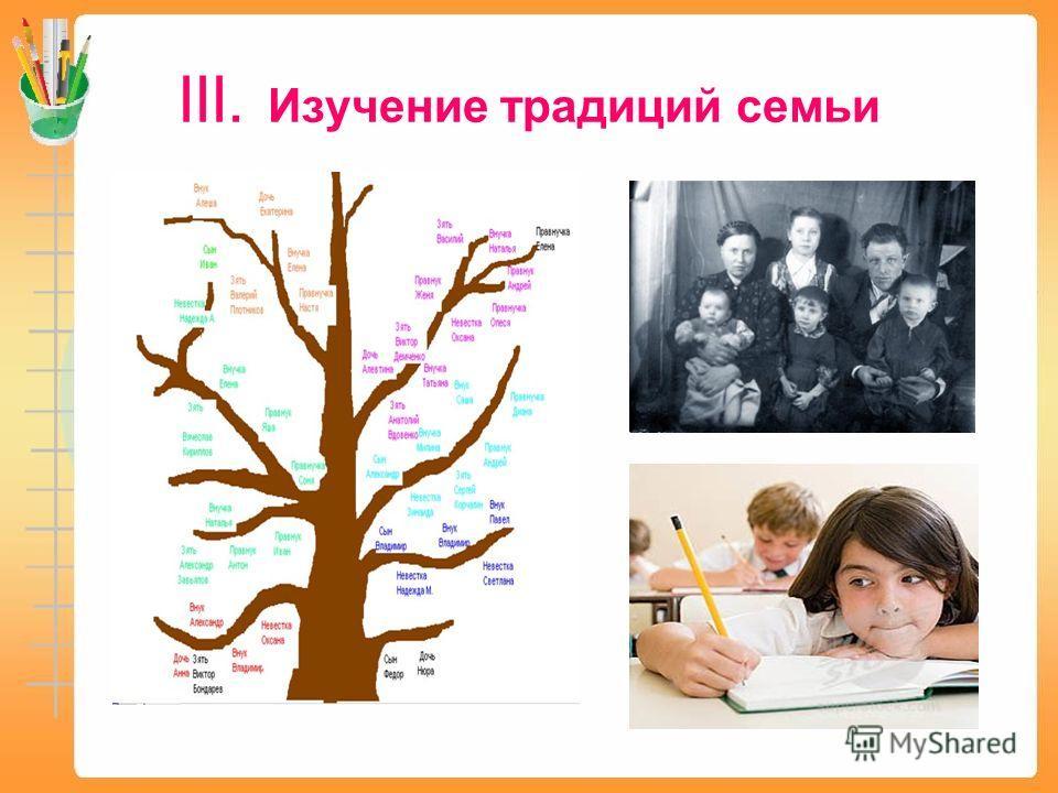 III. Изучение традиций семьи