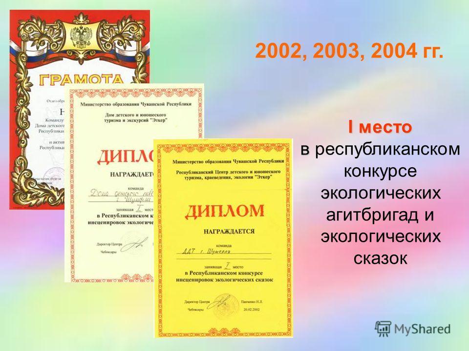 2002, 2003, 2004 гг. I место в республиканском конкурсе экологических агитбригад и экологических сказок