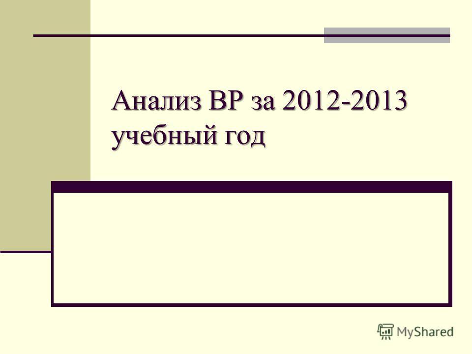Анализ ВР за 2012-2013 учебный год