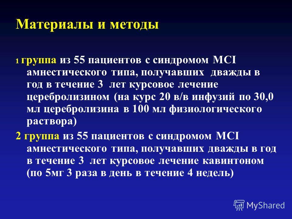 Материалы и методы 1 группа из 55 пациентов с синдромом MCI амнестического типа, получавших дважды в год в течение 3 лет курсовое лечение церебролизином (на курс 20 в/в инфузий по 30,0 мл церебролизина в 100 мл физиологического раствора) 2 группа из
