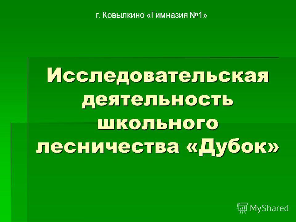 Исследовательская деятельность школьного лесничества «Дубок» г. Ковылкино «Гимназия 1»