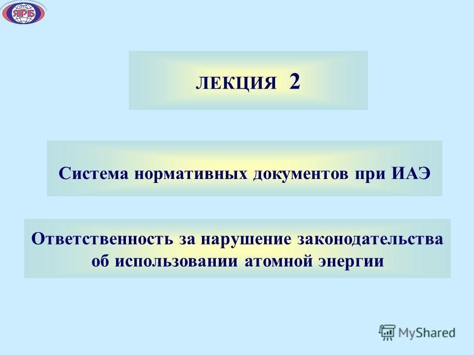 ЛЕКЦИЯ 2 Система нормативных документов при ИАЭ Ответственность за нарушение законодательства об использовании атомной энергии