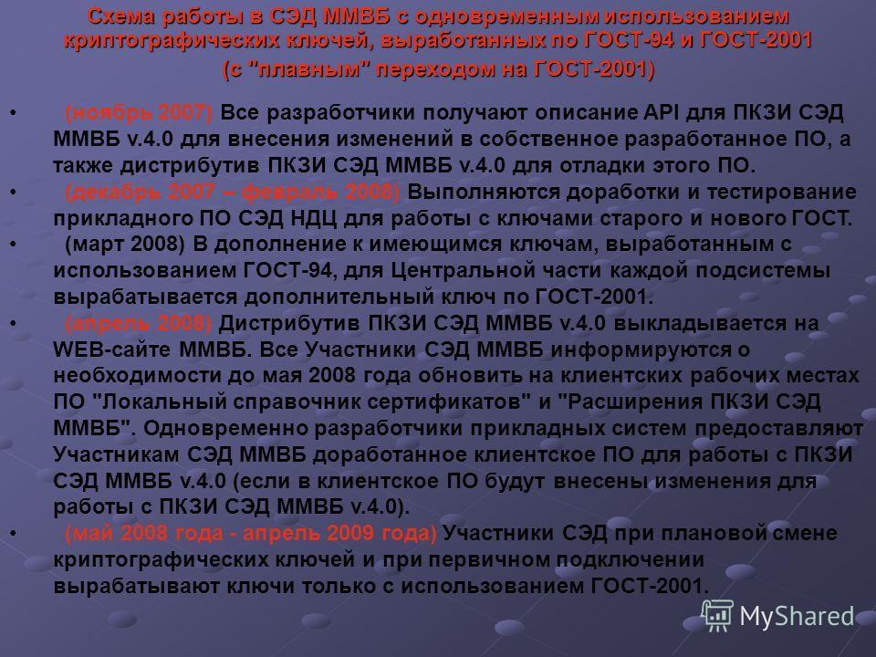 Схема работы в СЭД ММВБ с одновременным использованием криптографических ключей, выработанных по ГОСТ-94 и ГОСТ-2001 (с