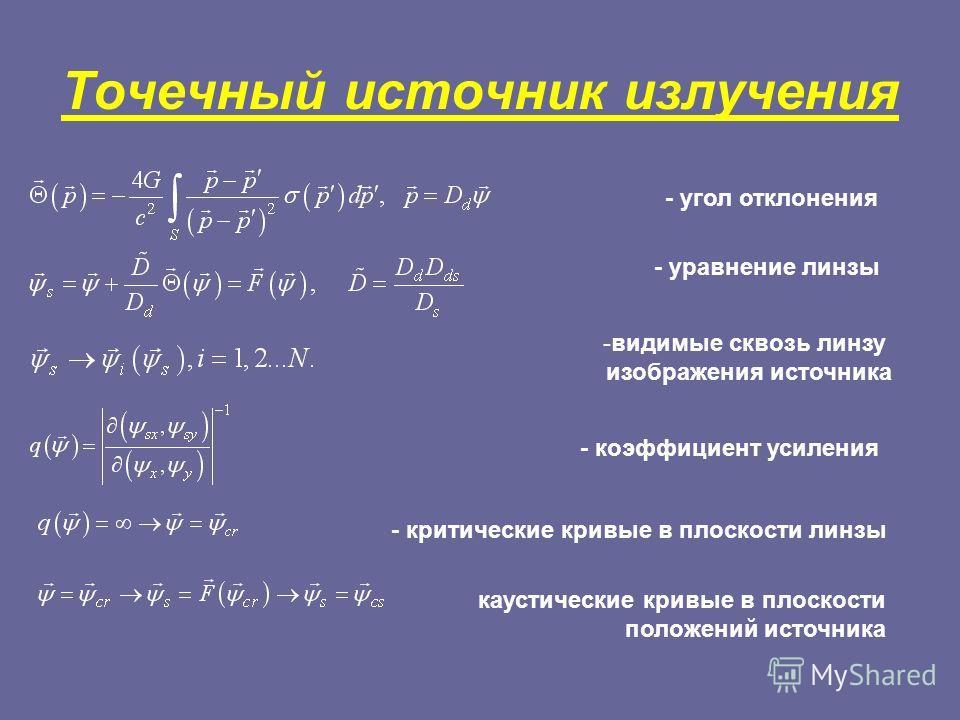 Точечный источник излучения - угол отклонения - уравнение линзы -видимые сквозь линзу изображения источника - коэффициент усиления - критические кривые в плоскости линзы каустические кривые в плоскости положений источника