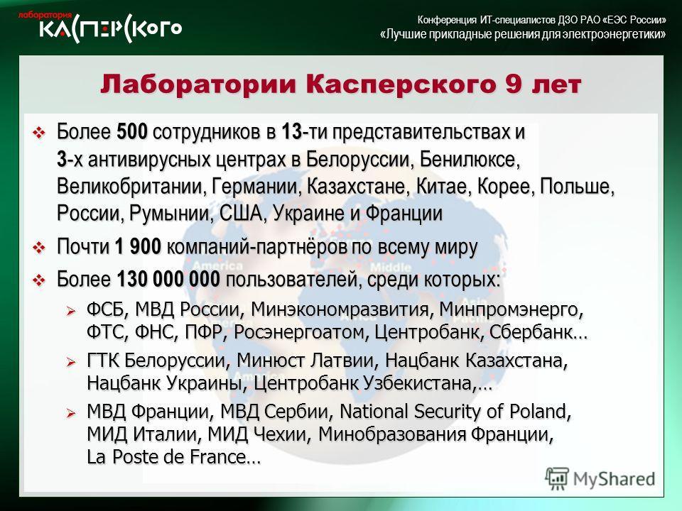 Kaspersky Labs 6 ht Annual Partner Conference · Turkey, June 2-6 2004 Kaspersky Labs 6 th Annual Partner Conference · Turkey, 2-6 June 2004 Конференция ИТ-специалистов ДЗО РАО «ЕЭС России» «Лучшие прикладные решения для электроэнергетики» Лаборатории