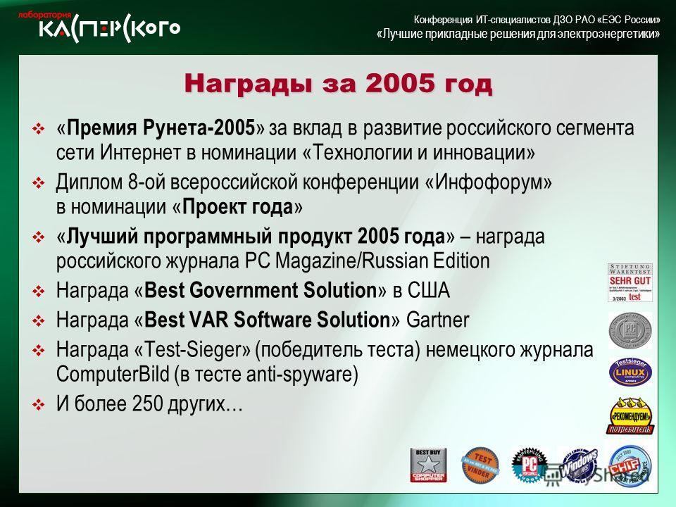 Kaspersky Labs 6 ht Annual Partner Conference · Turkey, June 2-6 2004 Kaspersky Labs 6 th Annual Partner Conference · Turkey, 2-6 June 2004 Конференция ИТ-специалистов ДЗО РАО «ЕЭС России» «Лучшие прикладные решения для электроэнергетики» Награды за