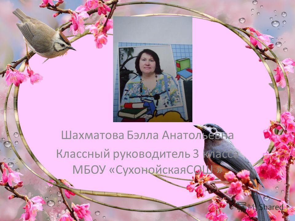 Шахматова Бэлла Анатольевна Классный руководитель 3 класса МБОУ «СухонойскаяСОШ »