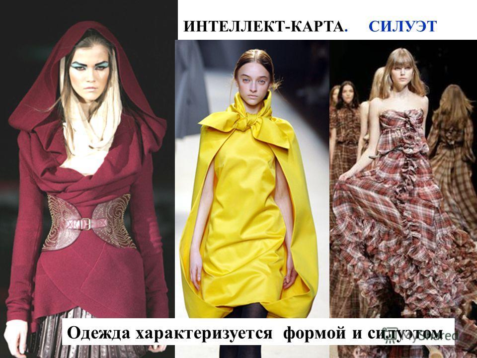 ИНТЕЛЛЕКТ-КАРТА. СИЛУЭТ Одежда характеризуется формой и силуэтом
