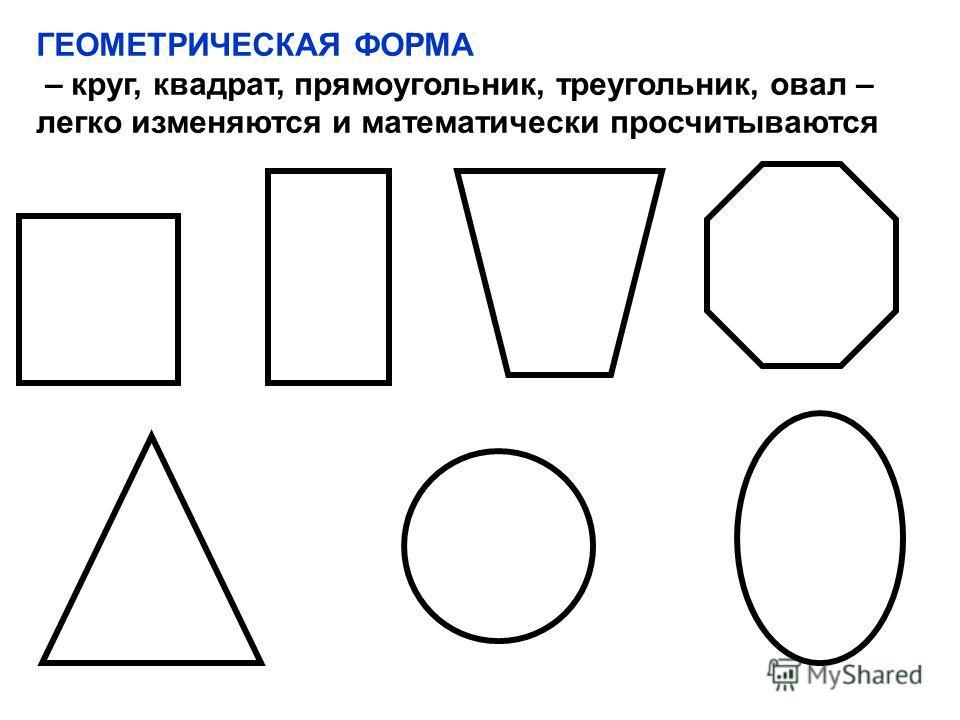 ГЕОМЕТРИЧЕСКАЯ ФОРМА – круг, квадрат, прямоугольник, треугольник, овал – легко изменяются и математически просчитываются