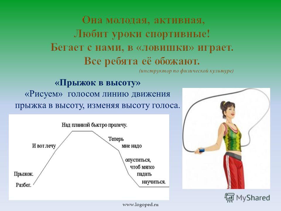 «Прыжок в высоту» «Рисуем» голосом линию движения прыжка в высоту, изменяя высоту голоса. www.logoped.ru