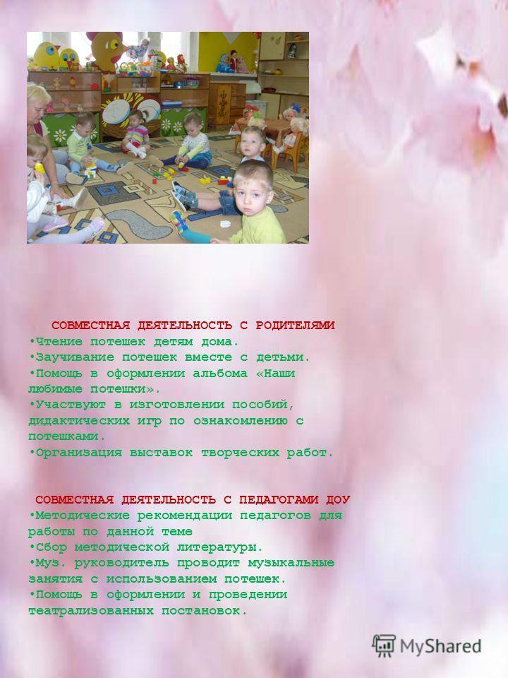 СОВМЕСТНАЯ ДЕЯТЕЛЬНОСТЬ С РОДИТЕЛЯМИ Чтение потешек детям дома. Заучивание потешек вместе с детьми. Помощь в оформлении альбома «Наши любимые потешки». Участвуют в изготовлении пособий, дидактических игр по ознакомлению с потешками. Организация выста