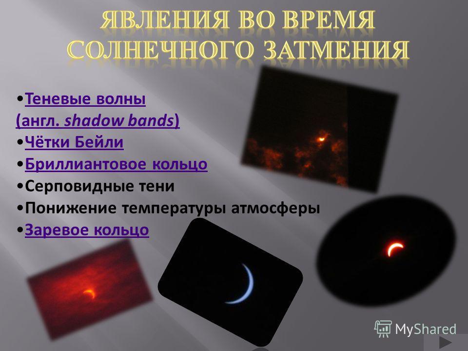 Теневые волны (англ. shadow bands) Чётки Бейли Бриллиантовое кольцо Серповидные тени Понижение температуры атмосферы Заревое кольцо