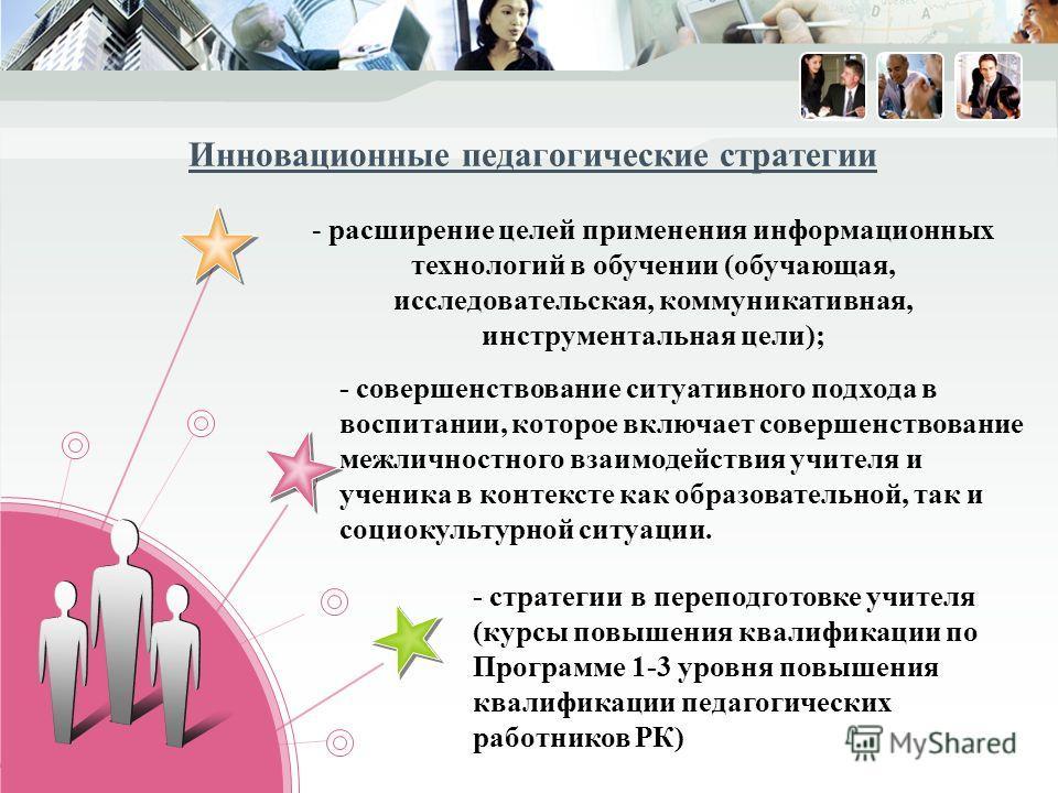 - расширение целей применения информационных технологий в обучении (обучающая, исследовательская, коммуникативная, инструментальная цели); - совершенствование ситуативного подхода в воспитании, которое включает совершенствование межличностного взаимо