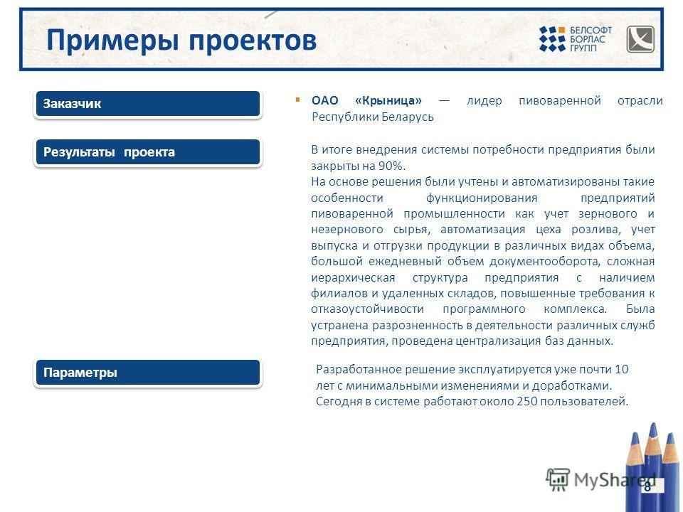 Результаты проекта Заказчик 8 ОАО «Крыница» лидер пивоваренной отрасли Республики Беларусь В итоге внедрения системы потребности предприятия были закрыты на 90%. На основе решения были учтены и автоматизированы такие особенности функционирования пред
