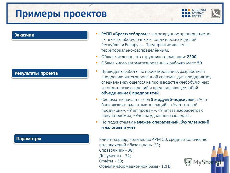 Результаты проекта Заказчик 9 РУПП «Брестхлебпром»: самое крупное предприятие по выпечке хлебобулочных и кондитерских изделий Республики Беларусь. Предприятие является территориально-распределённым. Общая численность сотрудников компании: 2200 Общее