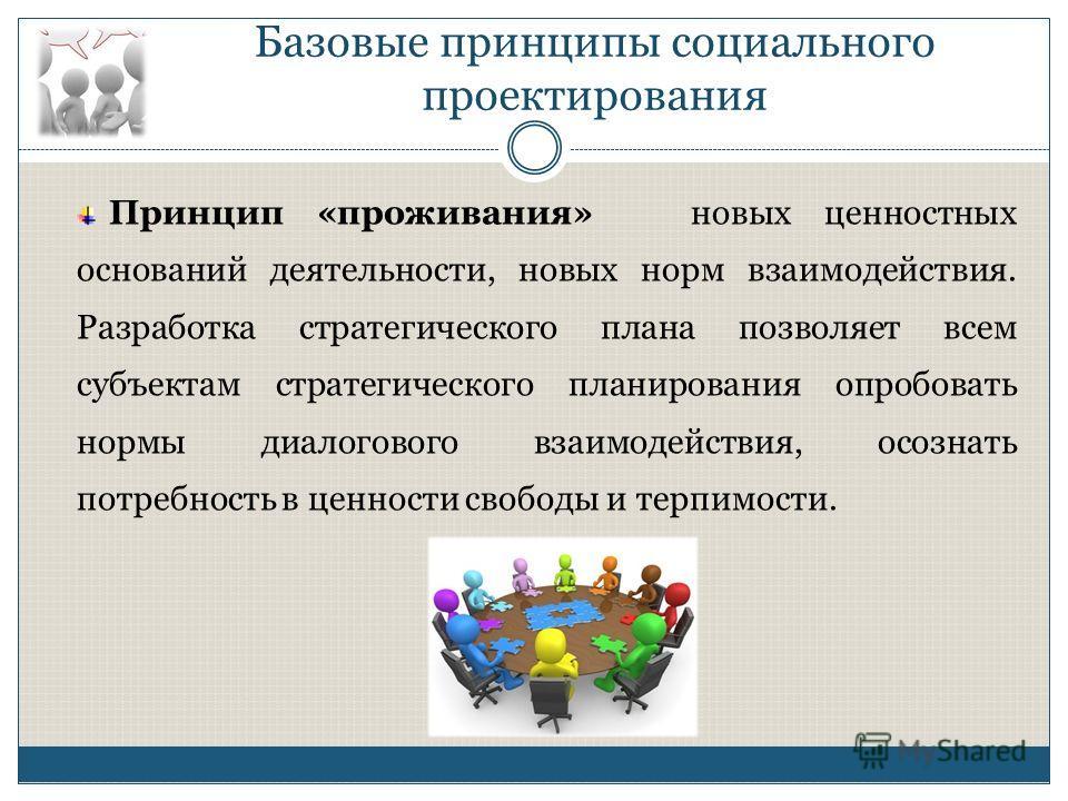 Базовые принципы социального проектирования Принцип «проживания» новых ценностных оснований деятельности, новых норм взаимодействия. Разработка стратегического плана позволяет всем субъектам стратегического планирования опробовать нормы диалогового в