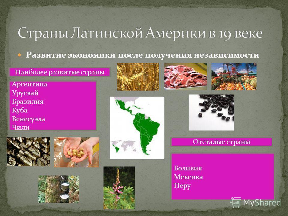 Развитие экономики после получения независимости Аргентина Уругвай Бразилия Куба Венесуэла Чили Наиболее развитые страны Боливия Мексика Перу Отсталые страны