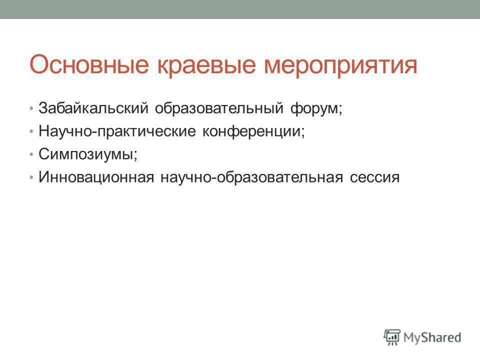 Основные краевые мероприятия Забайкальский образовательный форум; Научно-практические конференции; Симпозиумы; Инновационная научно-образовательная сессия