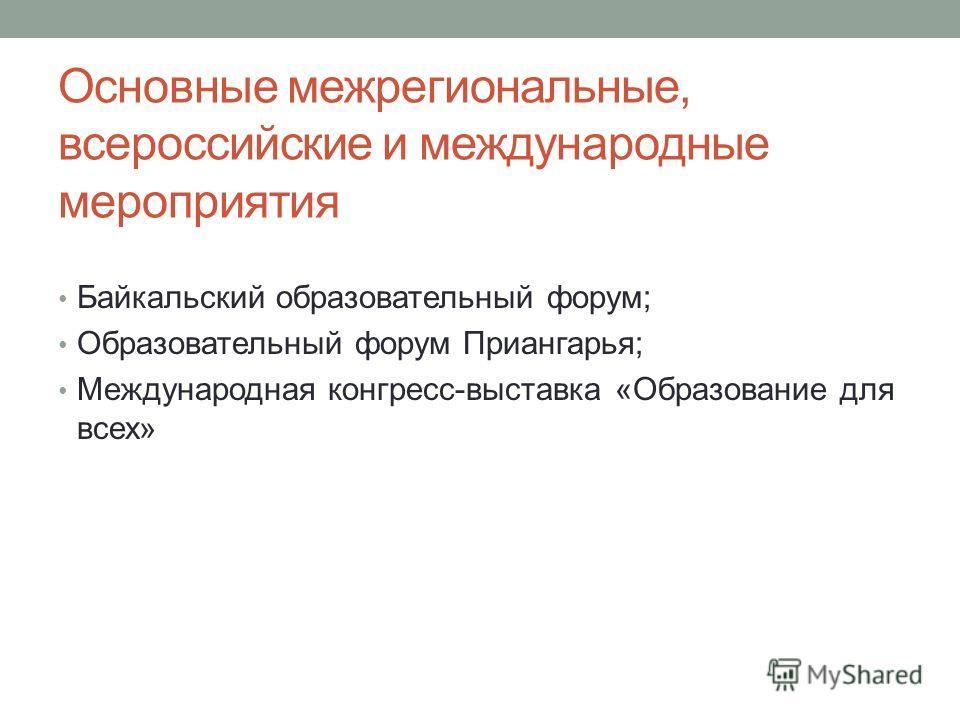 Основные межрегиональные, всероссийские и международные мероприятия Байкальский образовательный форум; Образовательный форум Приангарья; Международная конгресс-выставка «Образование для всех»