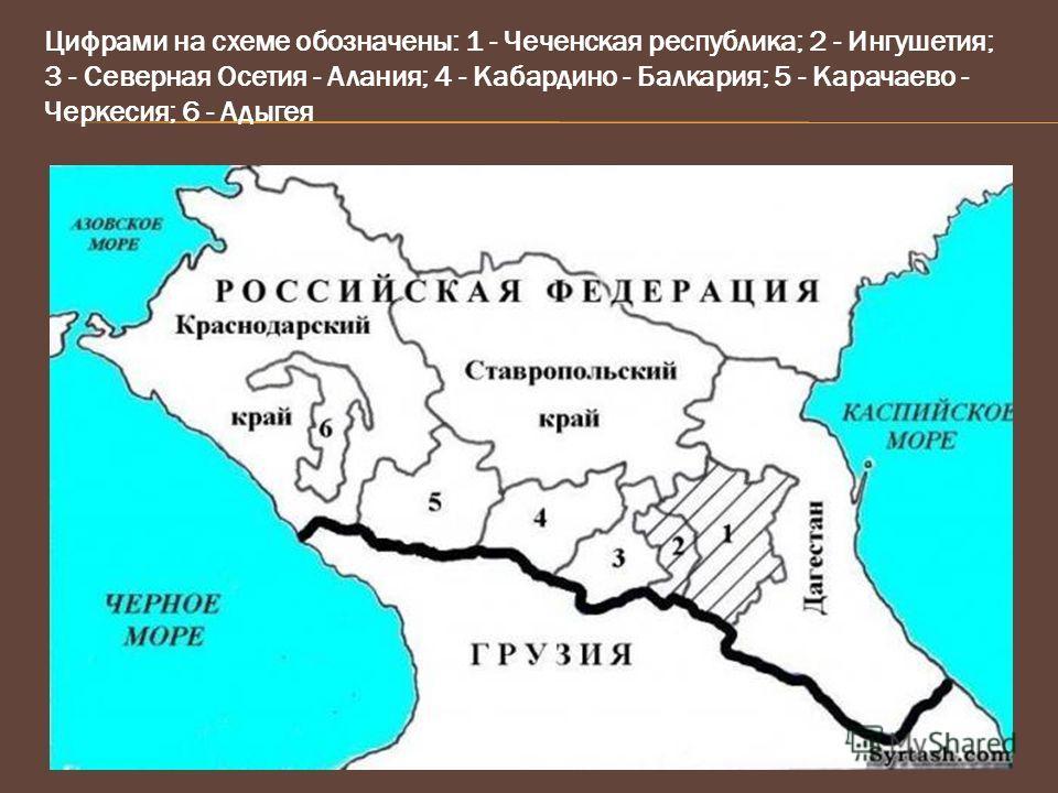 Цифрами на схеме обозначены: 1 - Чеченская республика; 2 - Ингушетия; 3 - Северная Осетия - Алания; 4 - Кабардино - Балкария; 5 - Карачаево - Черкесия; 6 - Адыгея