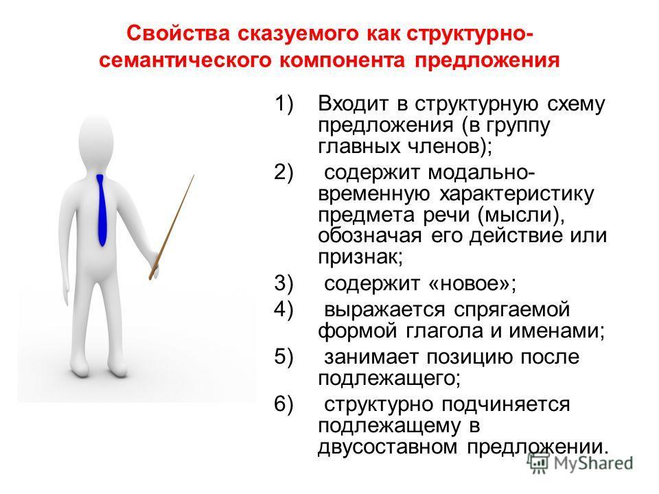 Свойства сказуемого как структурно- семантического компонента предложения 1)Входит в структурную схему предложения (в группу главных членов); 2) содержит модально- временную характеристику предмета речи (мысли), обозначая его действие или признак; 3)