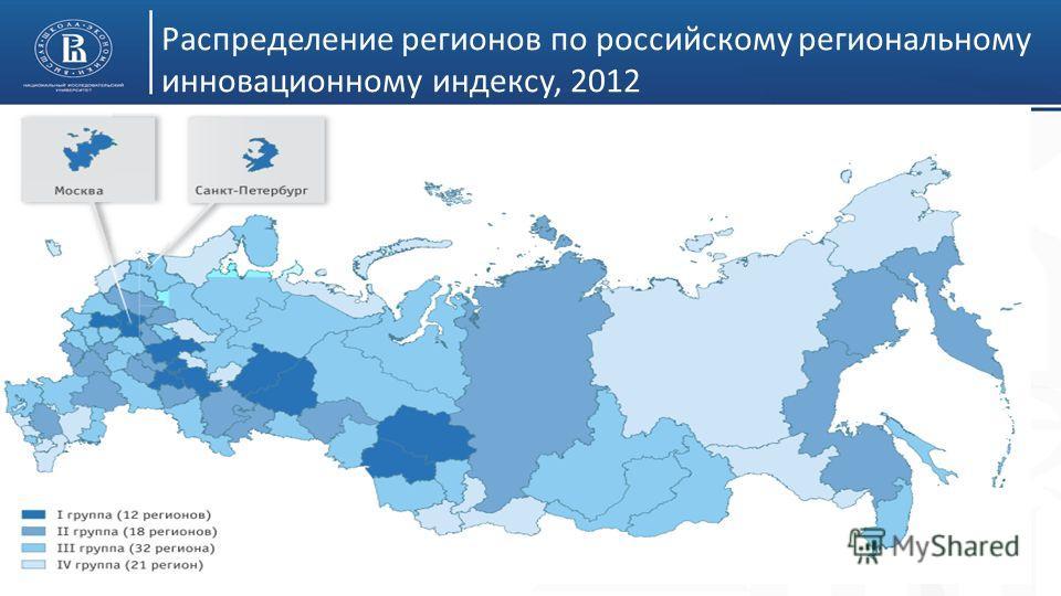 Распределение регионов по российскому региональному инновационному индексу, 2012 8
