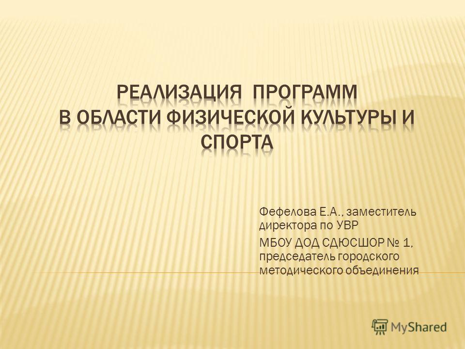 Фефелова Е.А., заместитель директора по УВР МБОУ ДОД СДЮСШОР 1, председатель городского методического объединения