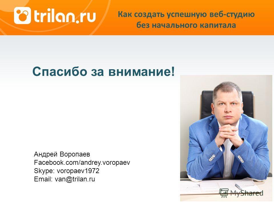Спасибо за внимание! Андрей Воропаев Facebook.com/andrey.voropaev Skype: voropaev1972 Email: van@trilan.ru