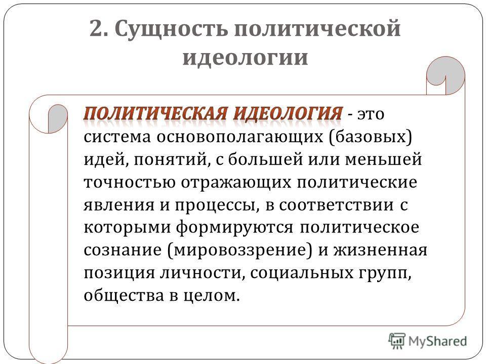 2. Сущность политической идеологии