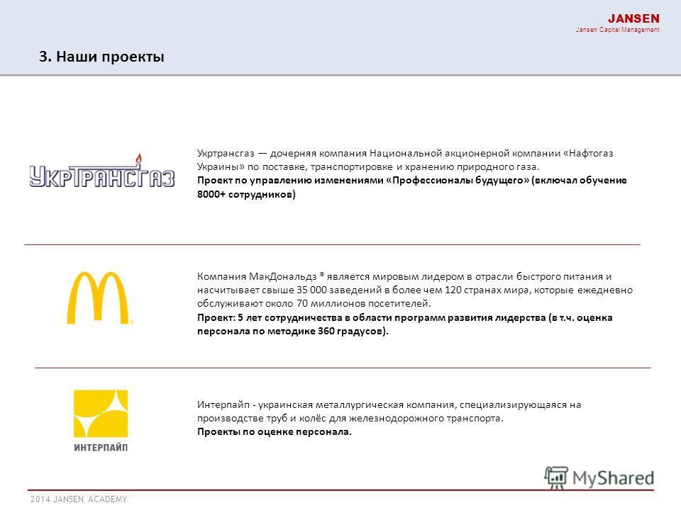 2014 JANSEN ACADEMY JANSEN Jansen Capital Management 3. Наши проекты Компания Мак Дональдз ® является мировым лидером в отрасли быстрого питания и насчитывает свыше 35 000 заведений в более чем 120 странах мира, которые ежедневно обслуживают около 70