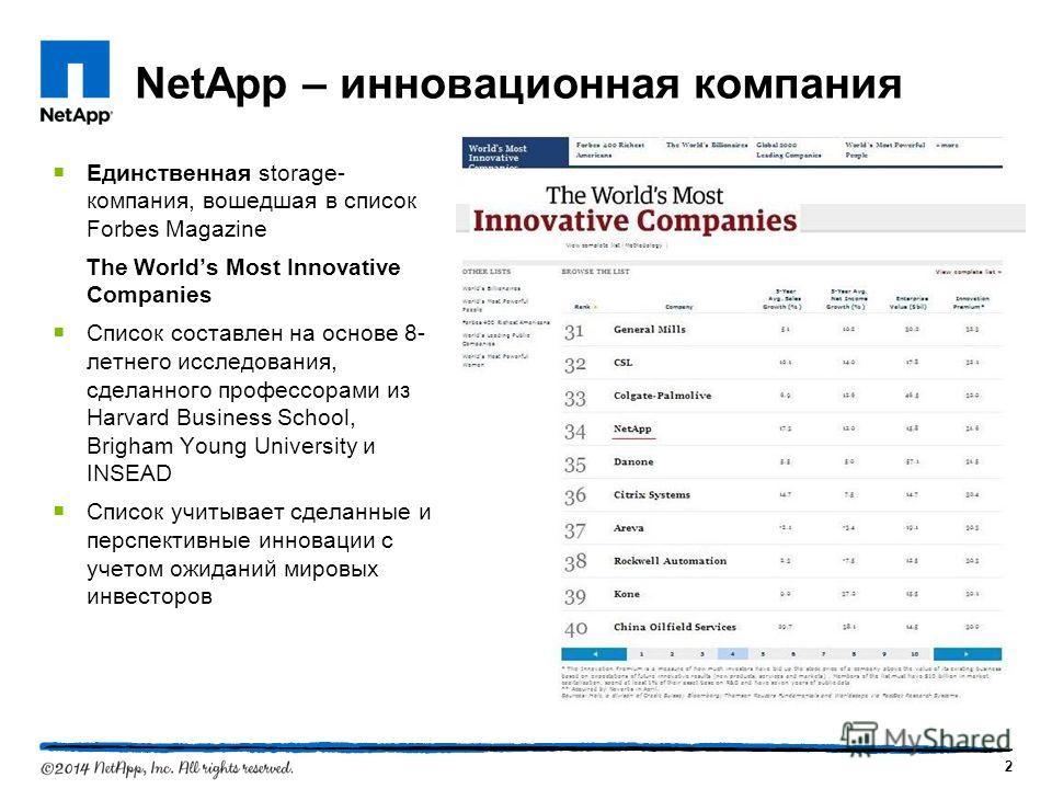 2 NetApp – инновационная компания Единственная storage- компания, вошедшая в список Forbes Magazine The Worlds Most Innovative Companies Список составлен на основе 8- летнего исследования, сделанного профессорами из Harvard Business School, Brigham Y