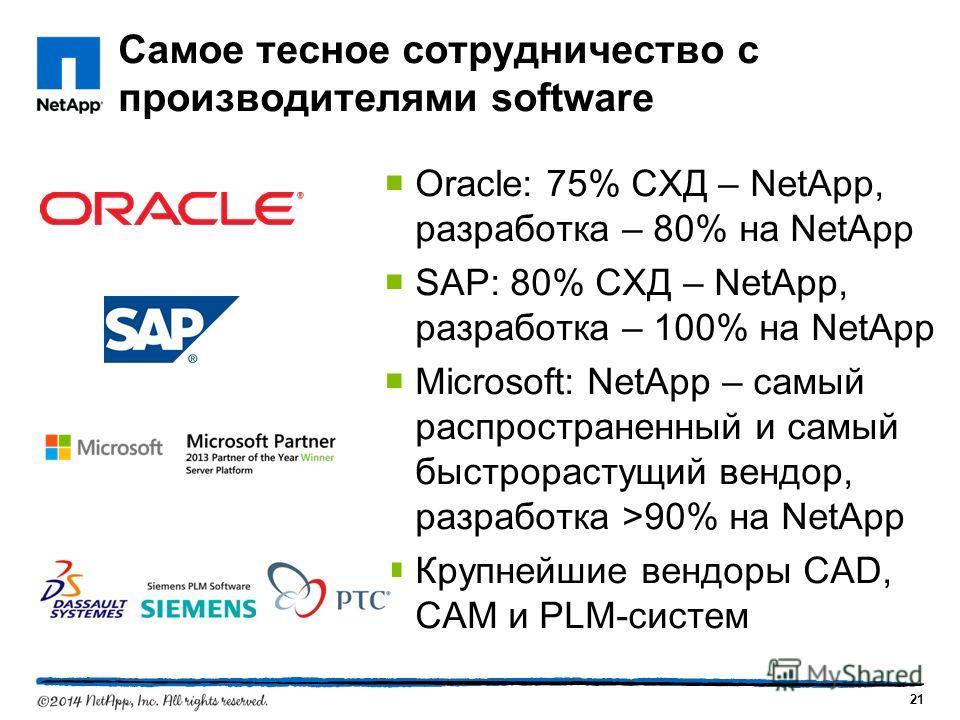 21 Самое тесное сотрудничество с производителями software Oracle: 75% СХД – NetApp, разработка – 80% на NetApp SAP: 80% СХД – NetApp, разработка – 100% на NetApp Microsoft: NetApp – самый распространенный и самый быстрорастущий вендор, разработка >90