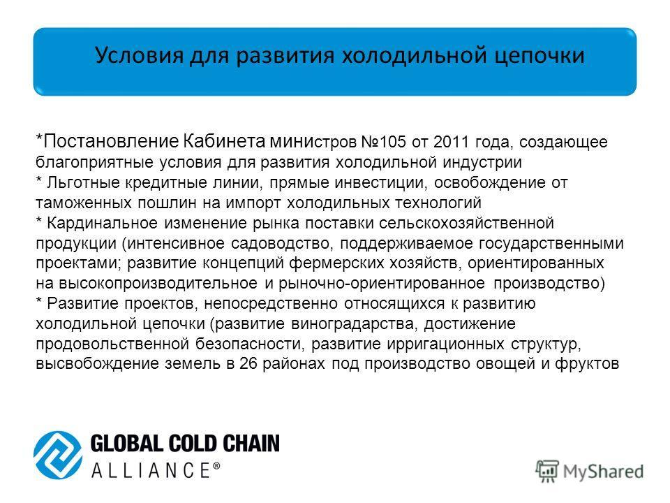 *Постановление Кабинета министров 105 от 2011 года, создающее благоприятные условия для развития холодильной индустрии * Льготные кредитные линии, прямые инвестиции, освобождение от таможенных пошлин на импорт холодильных технологий * Кардинальное из