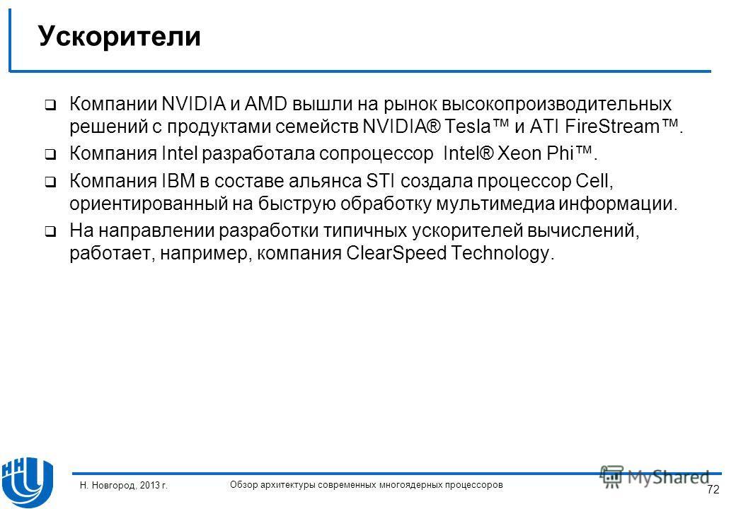 72 Н. Новгород, 2013 г. Обзор архитектуры современных многоядерных процессоров Компании NVIDIA и AMD вышли на рынок высокопроизводительных решений с продуктами семейств NVIDIA® Tesla и ATI FireStream. Компания Intel разработала сопроцессор Intel® Xeo
