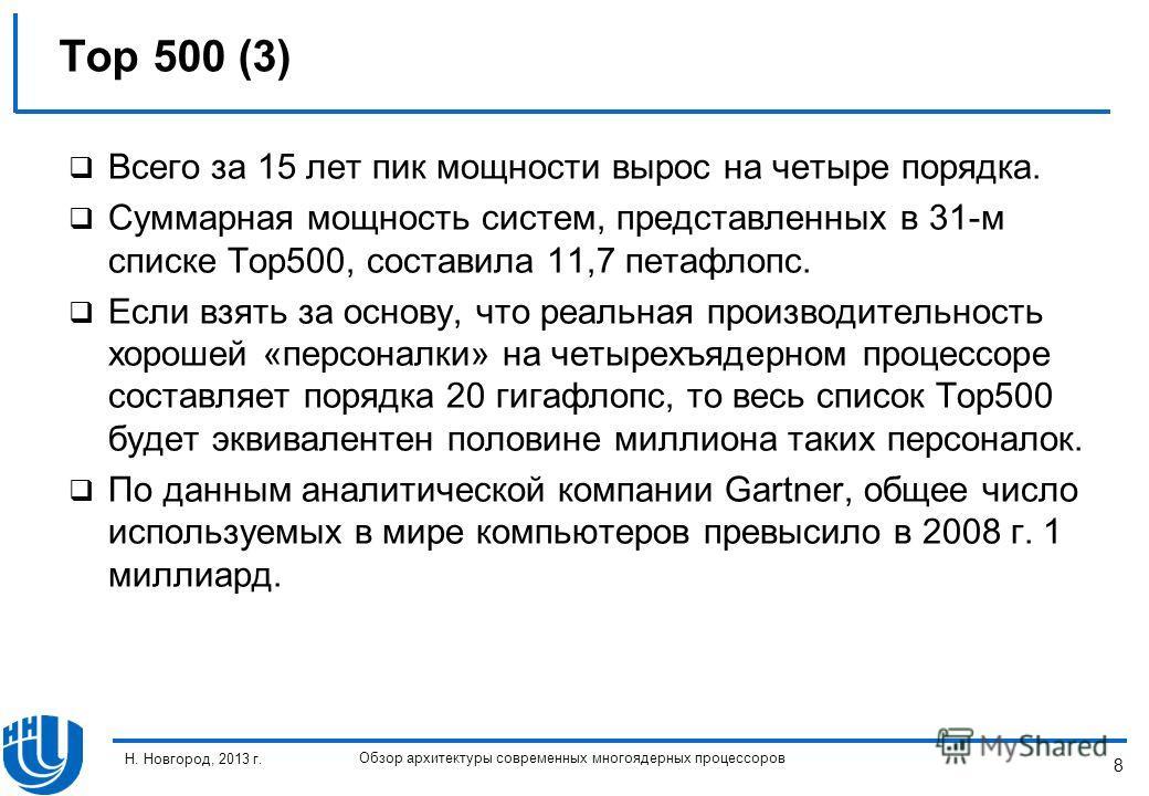 8 Н. Новгород, 2013 г. Обзор архитектуры современных многоядерных процессоров Всего за 15 лет пик мощности вырос на четыре порядка. Суммарная мощность систем, представленных в 31-м списке Top500, составила 11,7 петафлопс. Если взять за основу, что ре