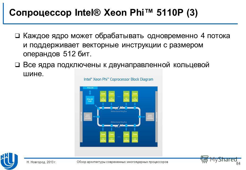 84 Н. Новгород, 2013 г. Обзор архитектуры современных многоядерных процессоров Сопроцессор Intel® Xeon Phi 5110P (3) Каждое ядро может обрабатывать одновременно 4 потока и поддерживает векторные инструкции с размером операндов 512 бит. Все ядра подкл